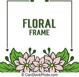 quadro, ilustração, vetorial, desenho, foliage, floral, verde