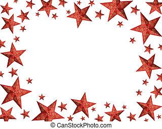 quadro, -, isolado, luminoso, estrelas, natal, vermelho