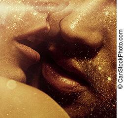 quadro, lábios, cima, sensual, fim