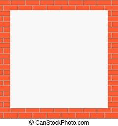 quadro, laranja, tijolos