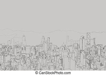 quadro, leva, cidade, panorama, altura, descuidado, desenhos...
