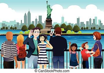 quadro, levando, estátua, liberdade, turistas