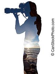 quadro, levando, profissional, paisagem, fotógrafo