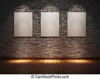 quadro, ligado, parede pedra