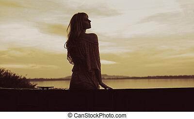 quadro, loiro, cutie, pôr do sol, observar