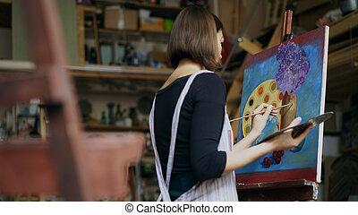 quadro, lona, mulher, talentoso, artista, jovem, art-class, quadro