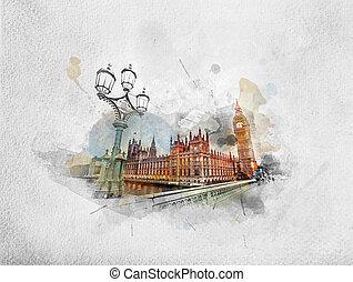 quadro, londres, ben, aquarela, reino unido, grande