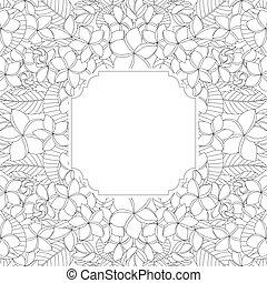 quadro, mão, fundo, floral, desenhado, branca