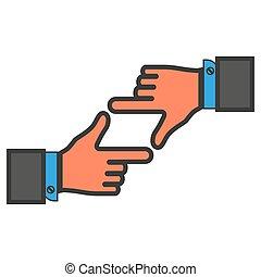 quadro, mãos, colorido, dedos