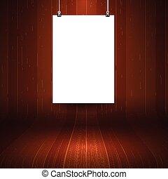 quadro, madeira, em branco, fundo, penduradas, exposição
