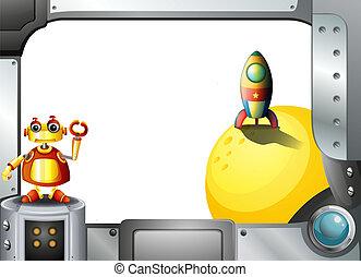 quadro, metal, robô, foguete