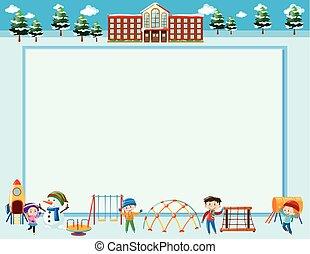 quadro, modelo, com, crianças, em, inverno
