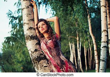 quadro, mulher, atraente, coloridos