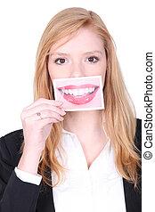 quadro, mulher, dela, boca grande, segurando