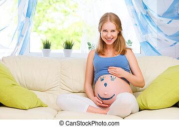 quadro, mulher, grávida, smiley, barriga, feliz