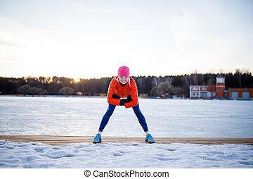 quadro, mulher, inverno, manhã, esportes, exercício
