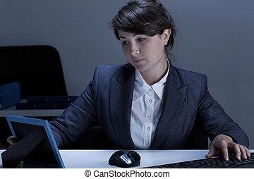 quadro, mulher, tendo, dela, escrivaninha