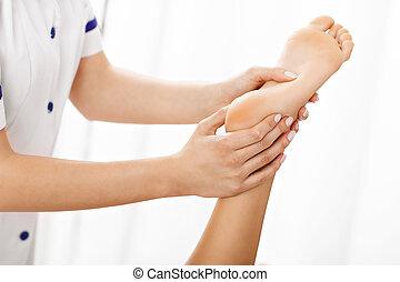 quadro, mulher, terapia, tendo, perna