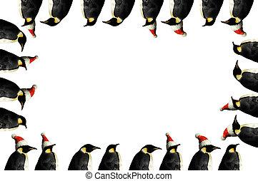 quadro, natal, pingüim