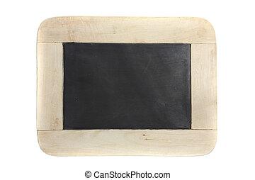 quadro-negro, branca, madeira, isolado, fundo