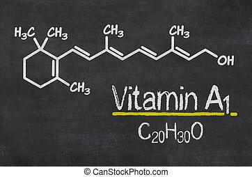 quadro-negro, com, a, químico, fórmula, de, vitamina, a1