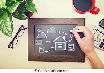 quadro-negro, computando, nuvem, conceitos