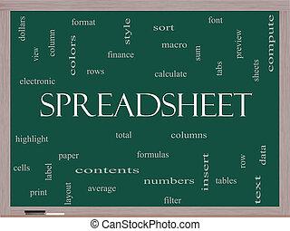 quadro-negro, conceito, palavra, spreadsheet, nuvem