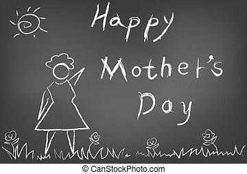 quadro-negro, dia, cartão, mães