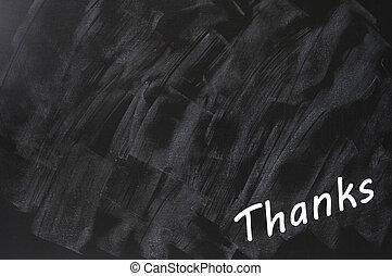 quadro-negro, emporcalhado, escrito, fundo, obrigado