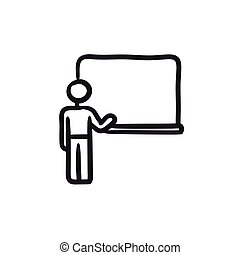 quadro-negro, esboço, icon., professor, apontar