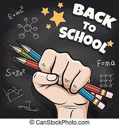 quadro-negro, escola, costas, esboço