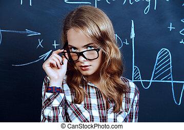 quadro-negro, estudante