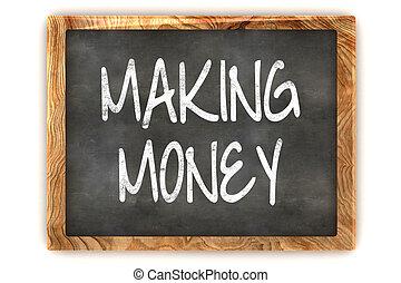 quadro-negro, fazendo dinheiro