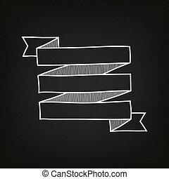 quadro-negro, fitas, desenhado, mão