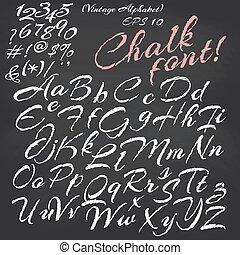 quadro-negro, fundo, giz, fonte, alphabet., vetorial