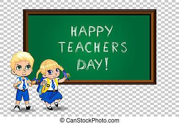 quadro-negro, isolado, ilustração, caricatura, professores, schoolgirl, dia, aluno
