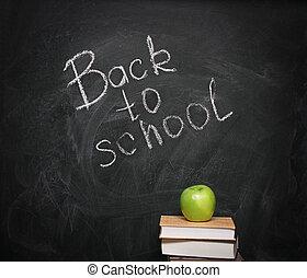 quadro-negro, livros, maçã, contra