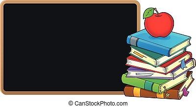 quadro-negro, livros, pilha