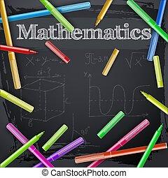 quadro-negro, marcadores, coloridos, matemática