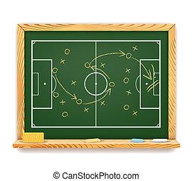 quadro-negro, mostrando, futebol, plano, esquemático