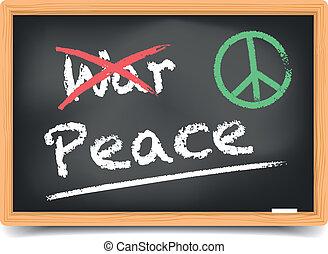 quadro-negro, paz, guerra, ou