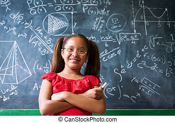 quadro-negro, resolver, complexo, retrato, menina, problema, matemática, feliz