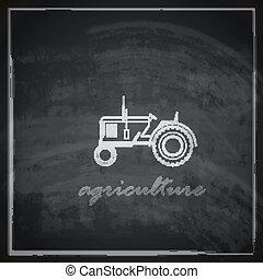 quadro-negro, trator, ilustração, ícone, vetorial, fazenda, ...