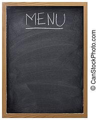 quadro-negro, usado, como, menu