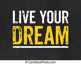 quadro-negro, viver, sonho, seu, texto