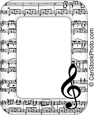 quadro, notas, música, quadro
