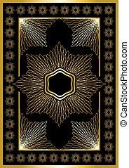 quadro, orname, ouro, calligraphic