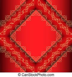 quadro, ornamento, fundo, ouro, vermelho