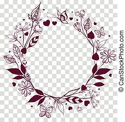 quadro, ornamento, redondo, experiência., floral, folhas, flores, transparente