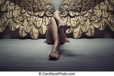 quadro, ouro, relaxante, anjo, chão